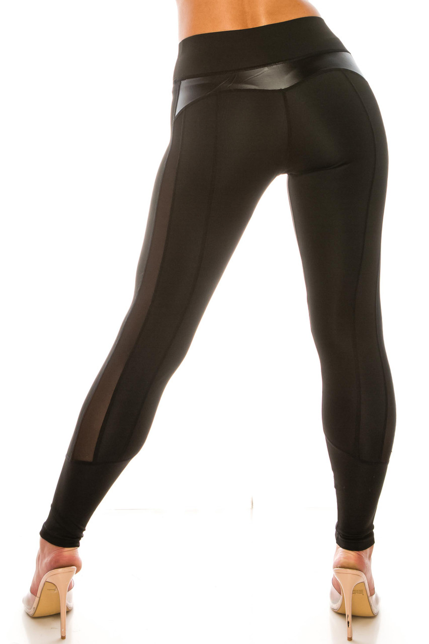 Sleek Faux Leather Accented Mesh High Waisted Sport Leggings