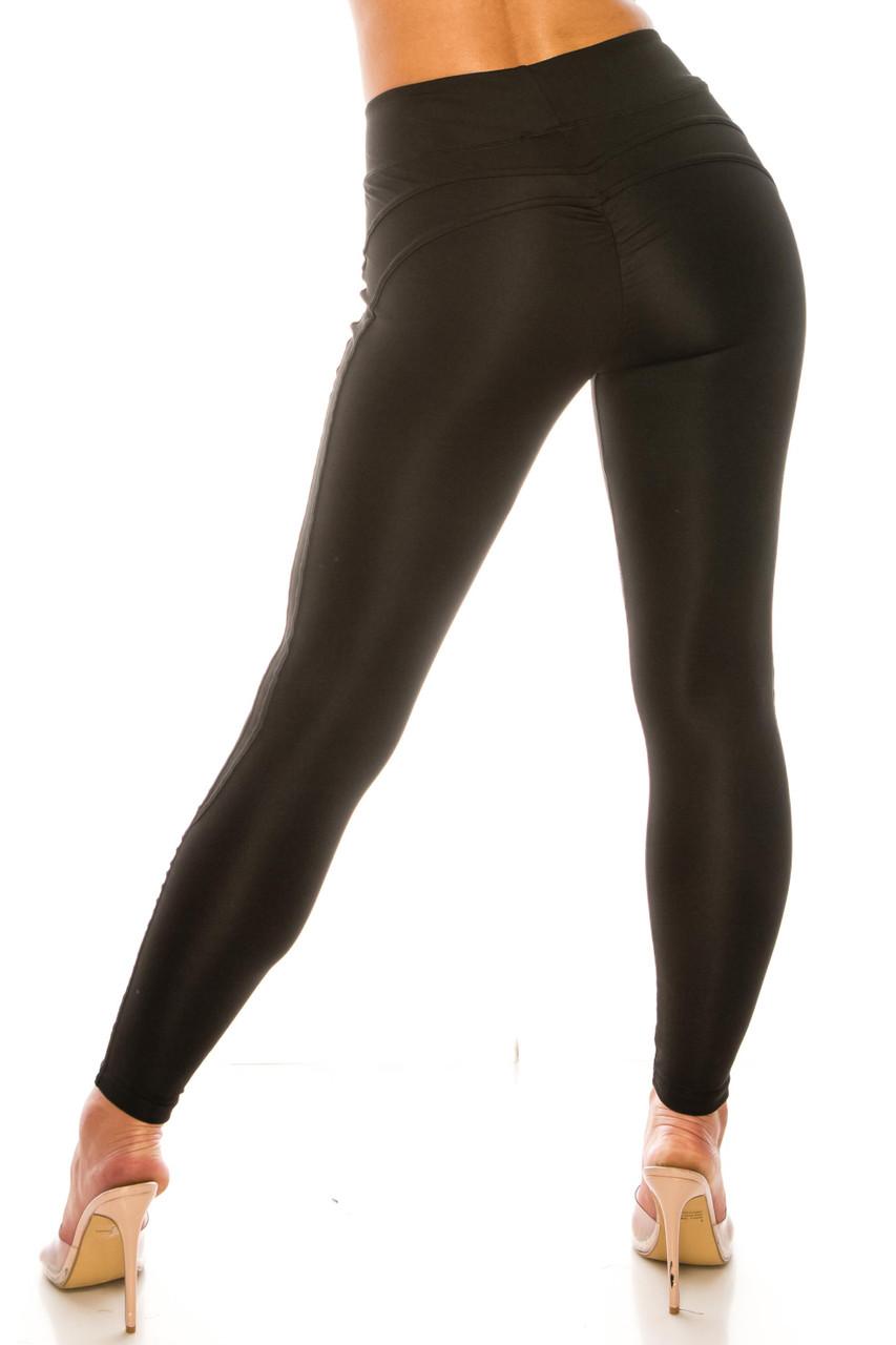 Black Solid Wrapped V Waist Sport Leggings
