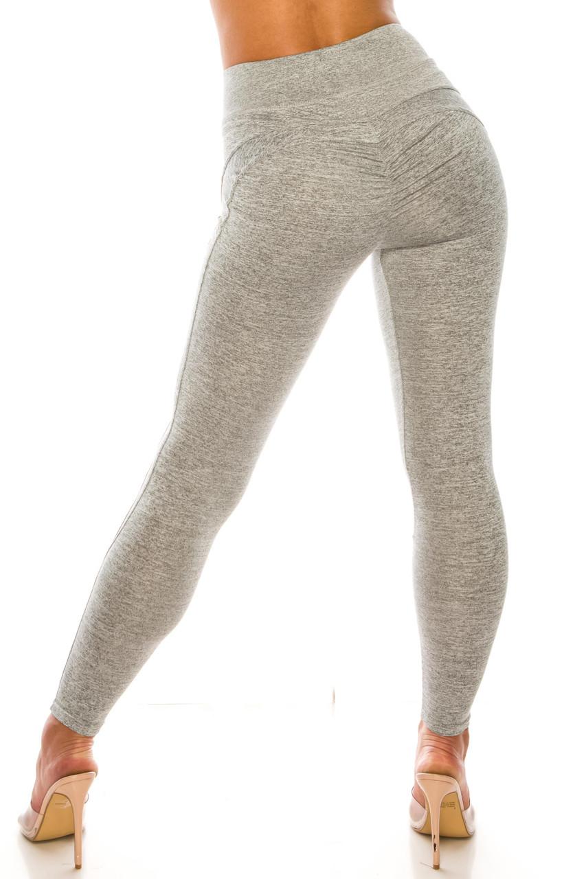Heather Grey Solid Wrapped V Waist Sport Leggings