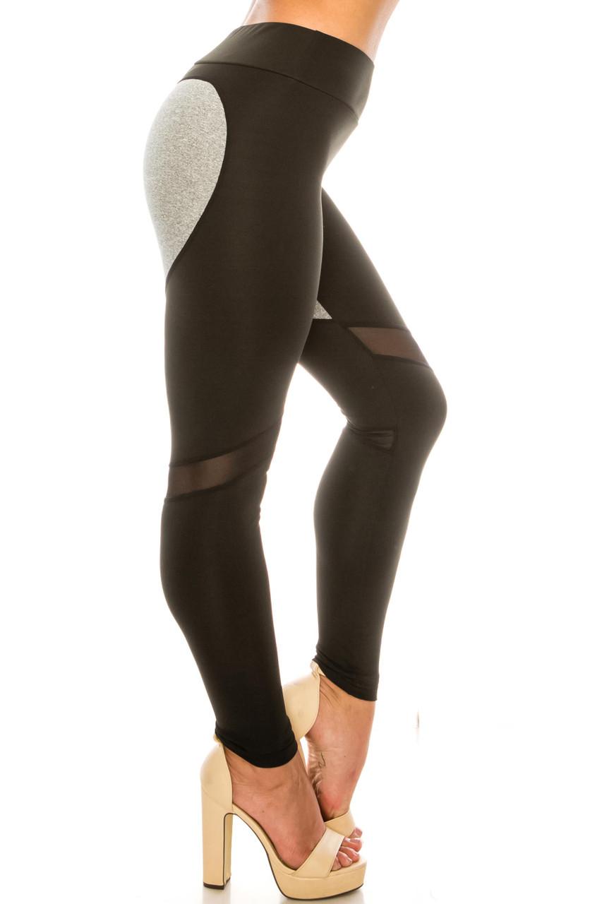 Heather Gray on Black Contrast Heart High Waisted Sport Leggings