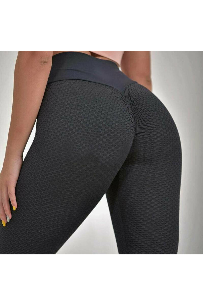 Contrast Textured Scrunch Butt Leggings with Side Pockets