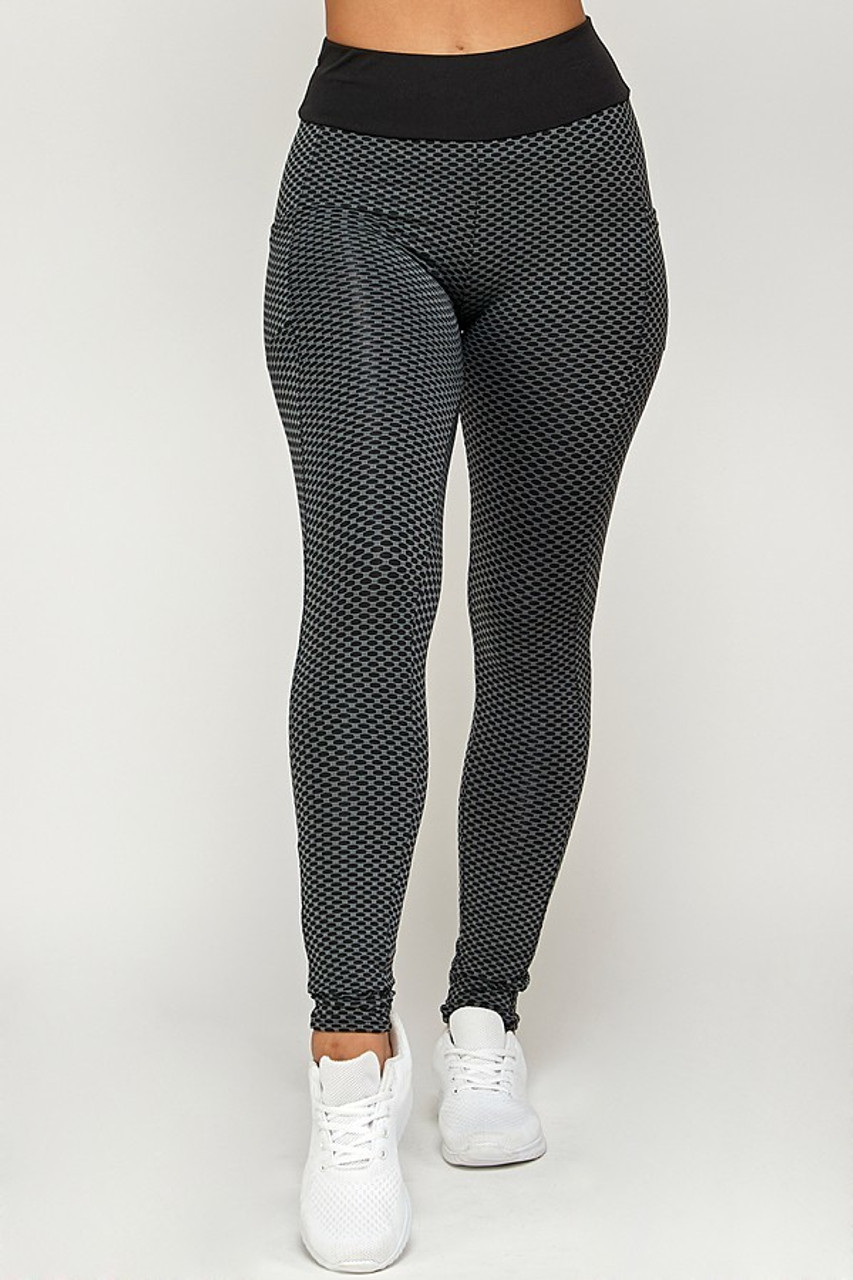 Charcoal Contrast Textured Scrunch Butt Leggings with Side Pockets