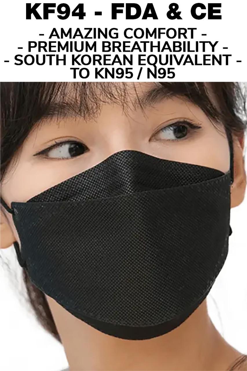 Black KF94 Face Mask - 50 Pack - Individually Sealed