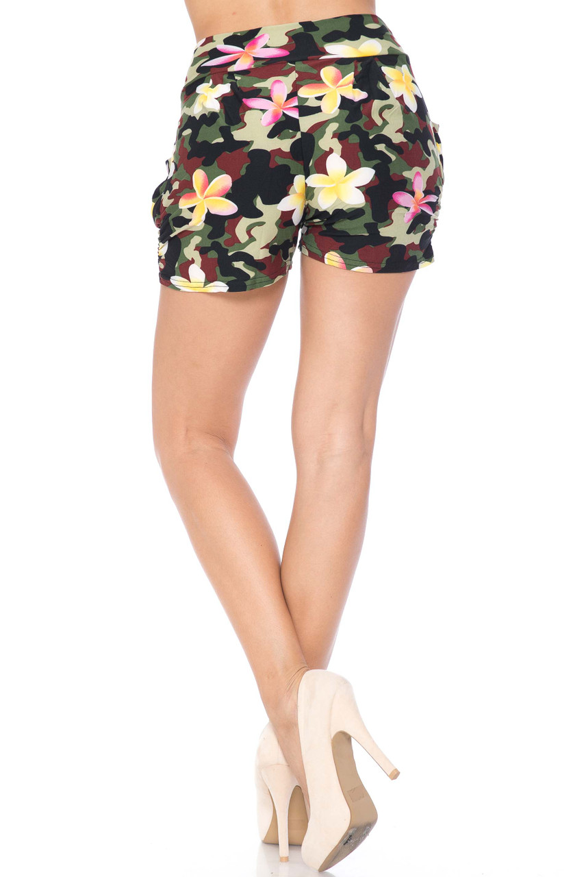 Buttery Soft Summer Floral Camouflage Harem Shorts