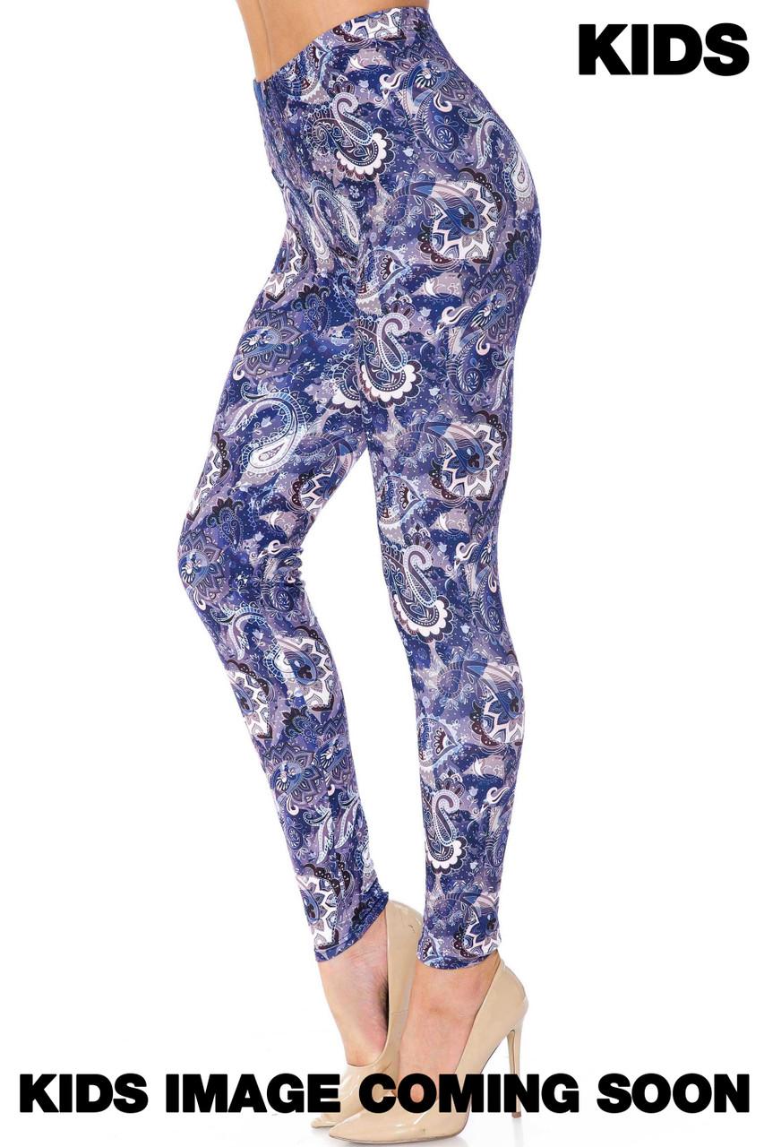 Creamy Soft Indigo Blue Paisley Kids Leggings - USA Fashion™