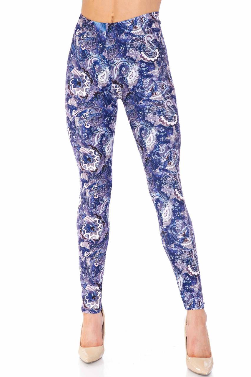 Creamy Soft Indigo Blue Paisley Plus Size Leggings - USA Fashion™