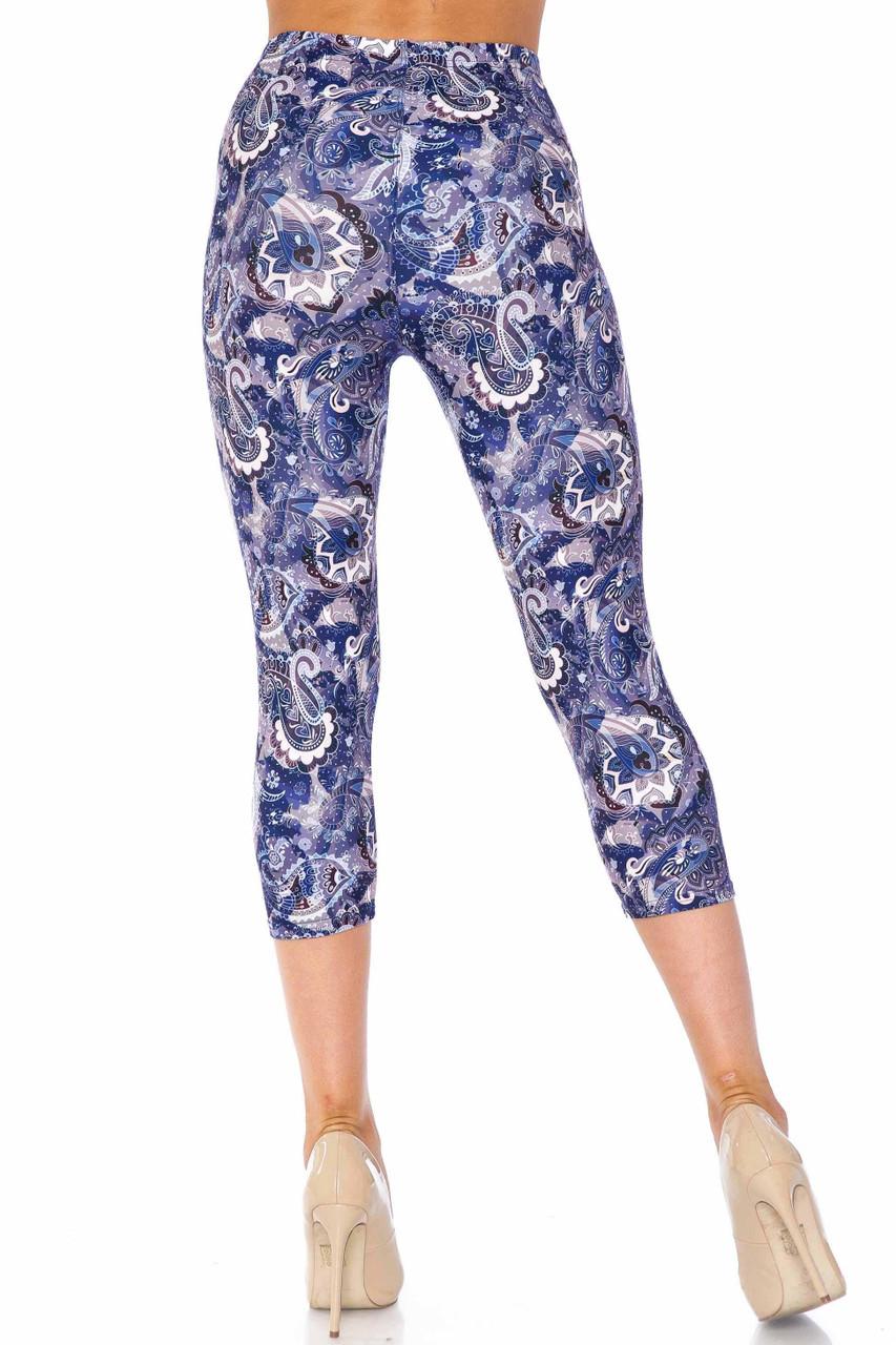 Creamy Soft Indigo Blue Paisley Plus Size Capris - USA Fashion™