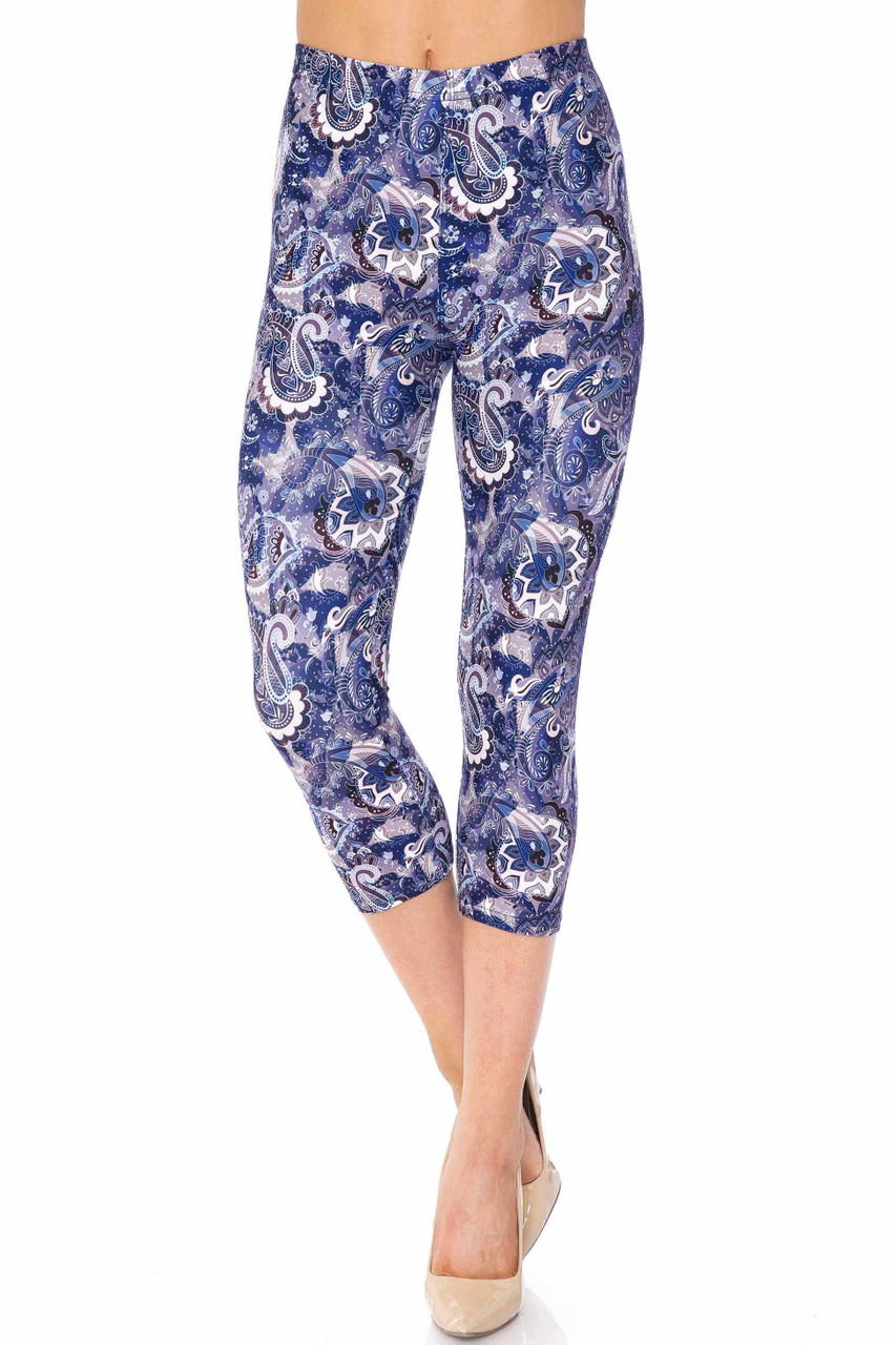 Creamy Soft Indigo Blue Paisley Extra Plus Size Capris - 3X-5X - USA Fashion™