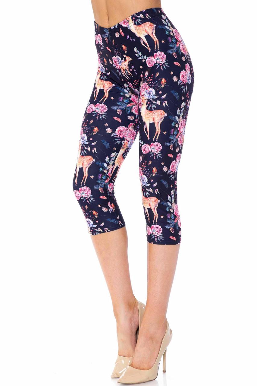 Creamy Soft Woodland Floral Fawn Capris - USA Fashion™