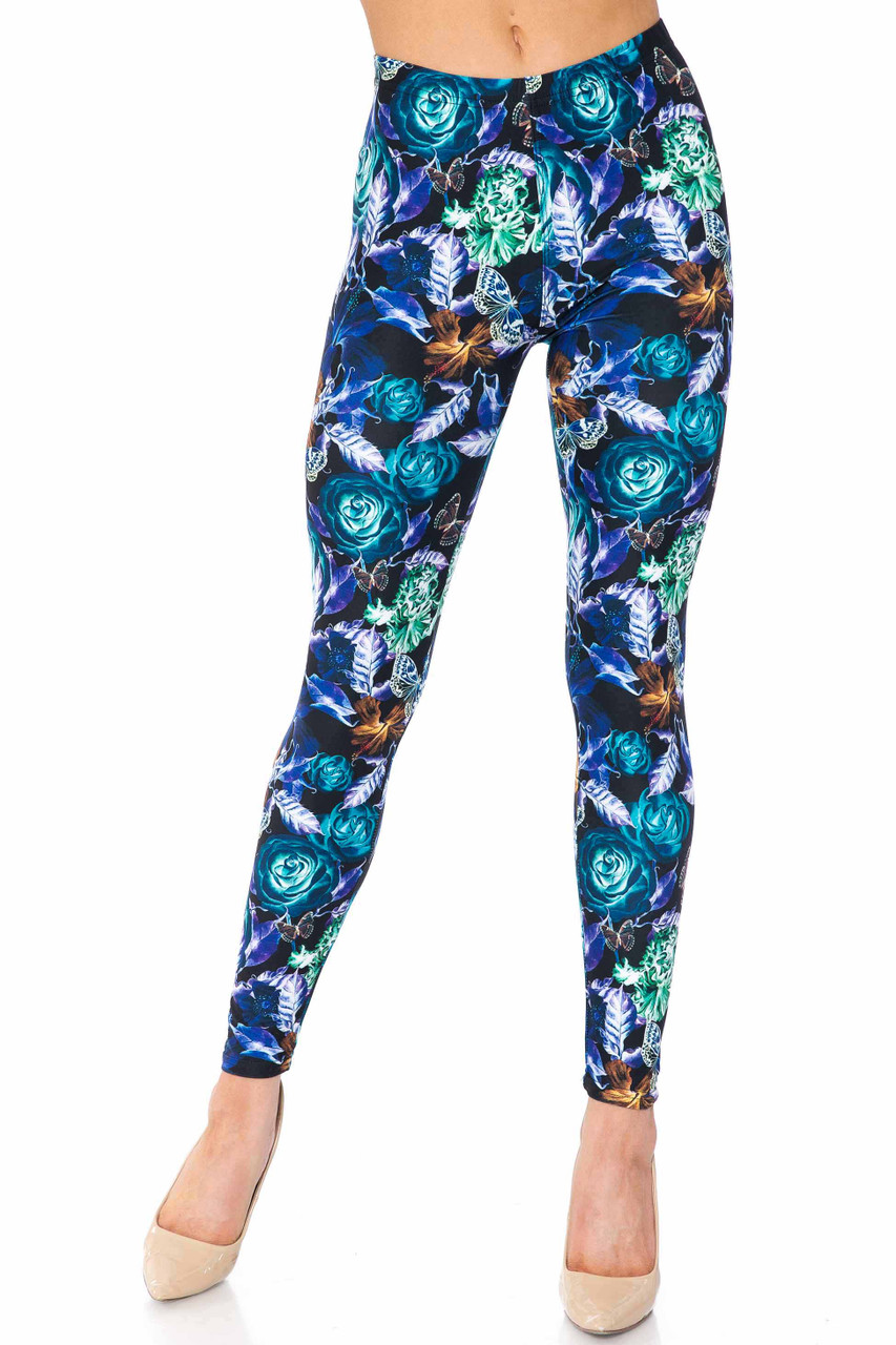 Creamy Soft Electric Blue Floral Butterfly Extra Plus Size Leggings - 3X-5X - USA Fashion™