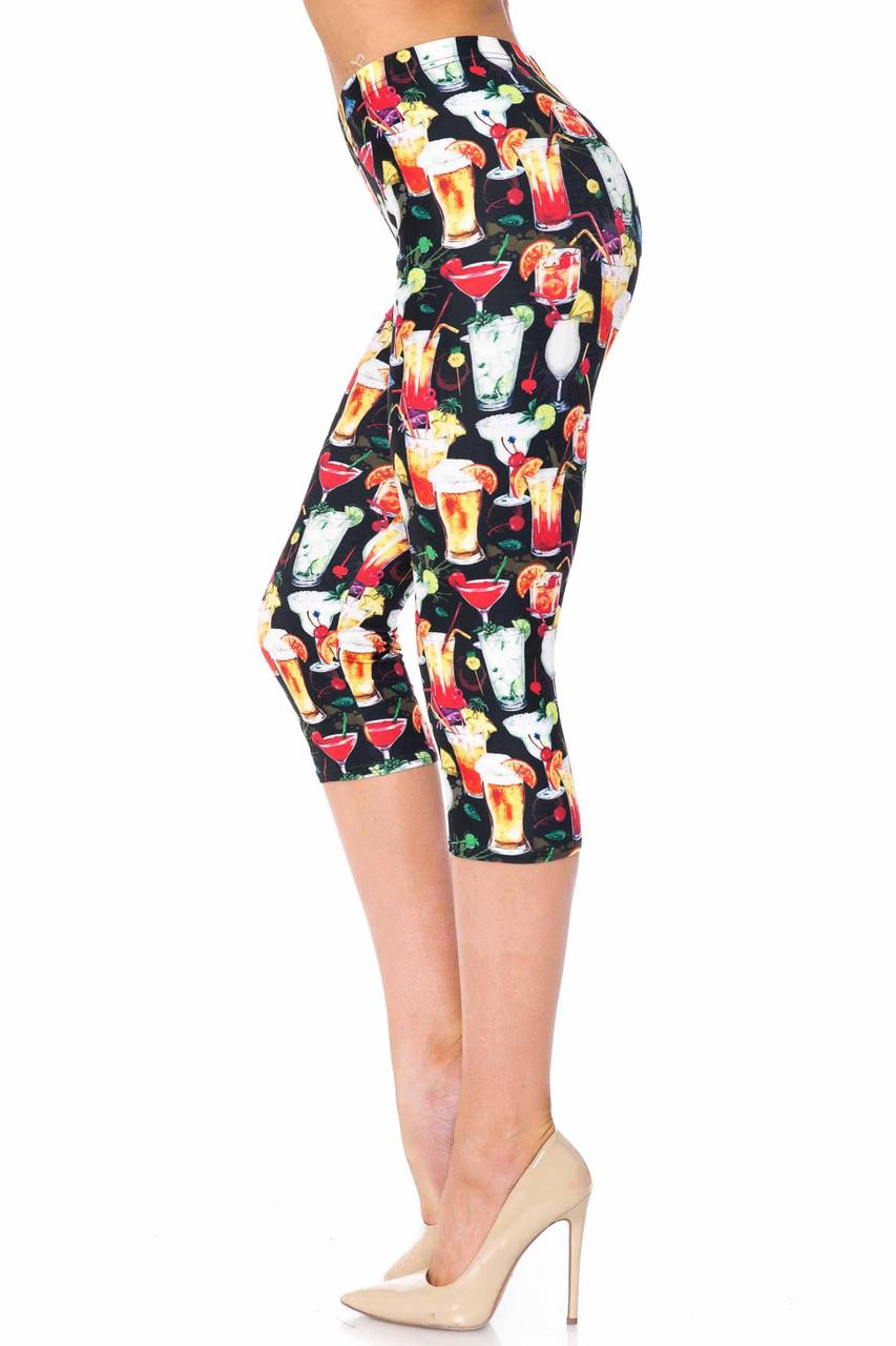 Creamy Soft Tropical Cocktails Capris - USA Fashion™