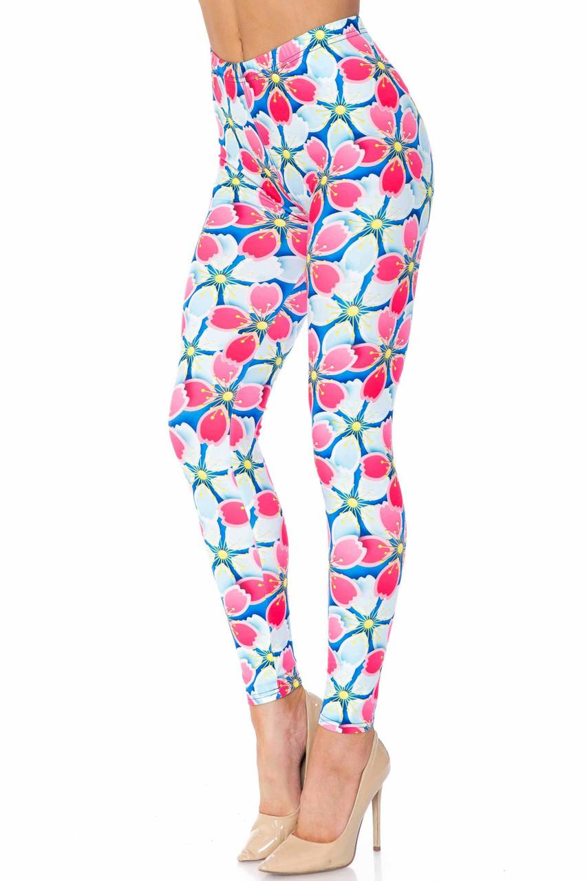 Creamy Soft Pink and Blue Sunshine Floral Leggings - USA Fashion™