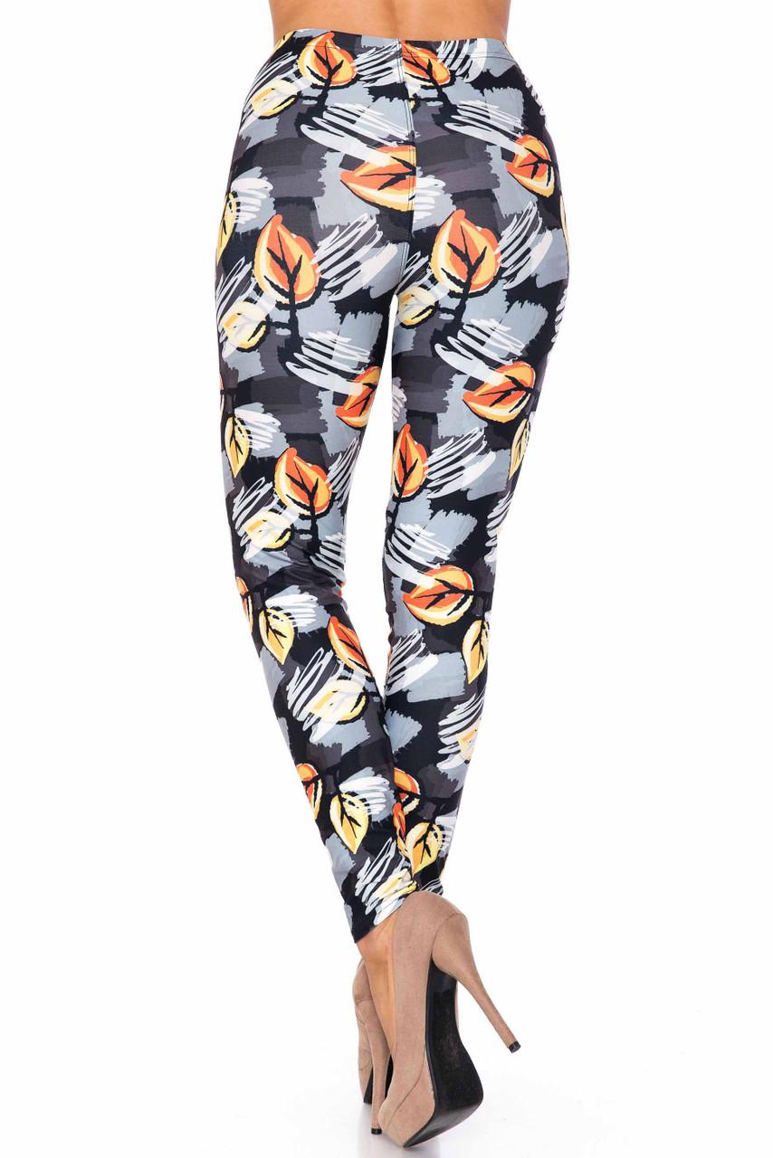 Creamy Soft Orange Leaf Breeze Plus Size Leggings - USA Fashion™