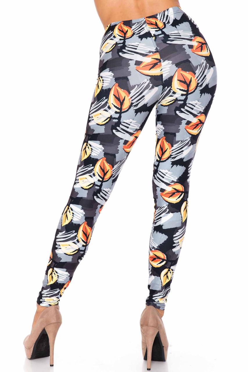 Creamy Soft Orange Leaf Breeze Extra Plus Size Leggings - 3X-5X - USA Fashion™