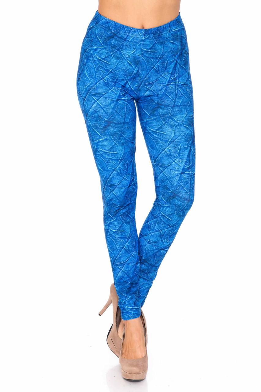Creamy Blue Wrinkled Denim Leggings - USA Fashion™