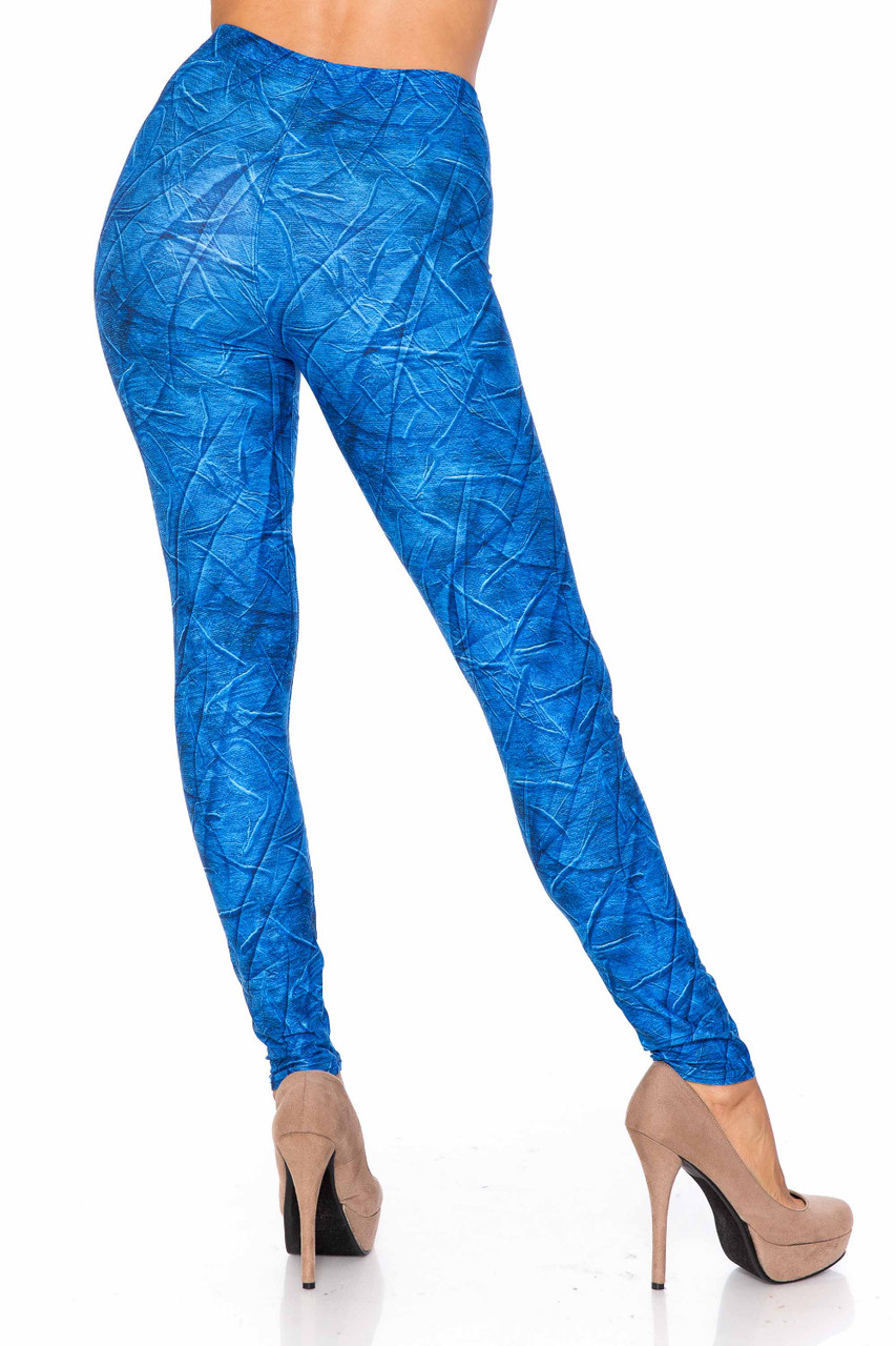 Creamy Soft Blue Wrinkled Denim Leggings - USA Fashion™