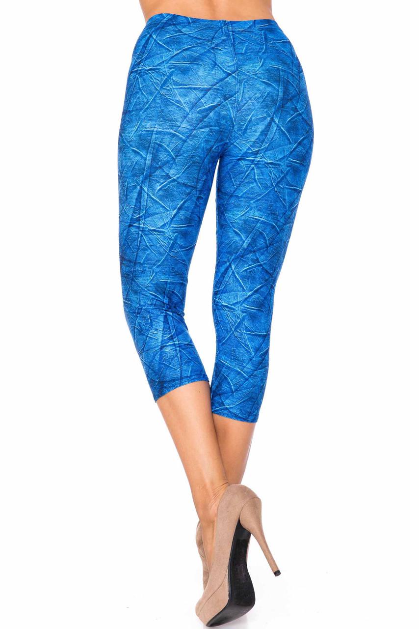 Creamy Soft Blue Wrinkled Denim Plus Size Capris - USA Fashion™