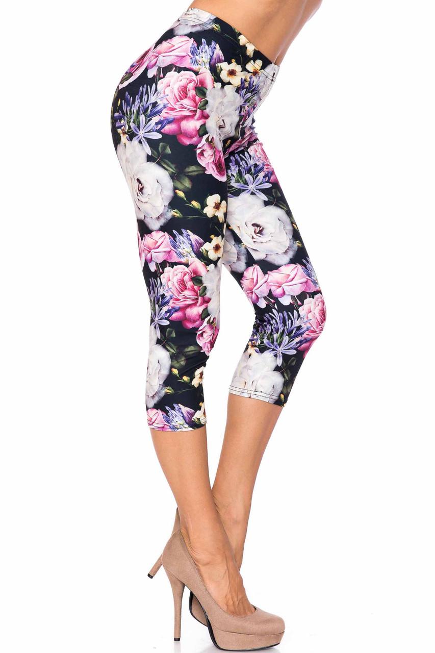Creamy Soft Floral Garden Bouquet Capris - USA Fashion™
