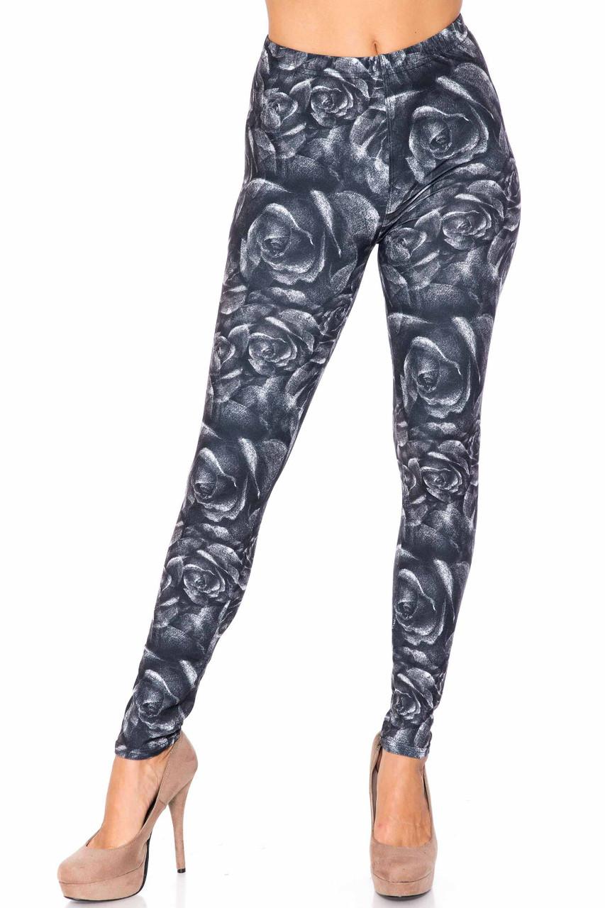 Creamy Soft Monochrome Rose Floral Kids Leggings - USA Fashion™