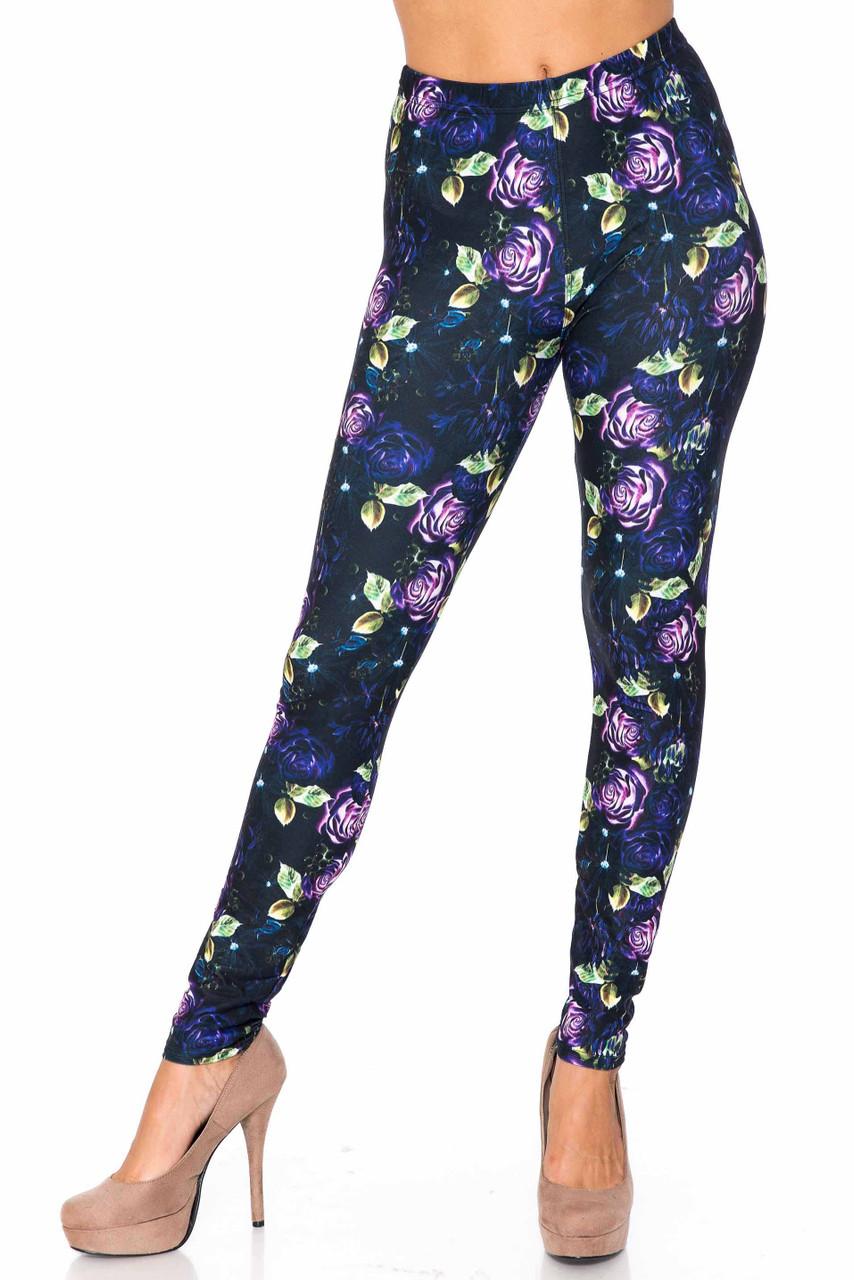 Creamy Soft Purple and Violet Rose Kids Leggings - USA Fashion™