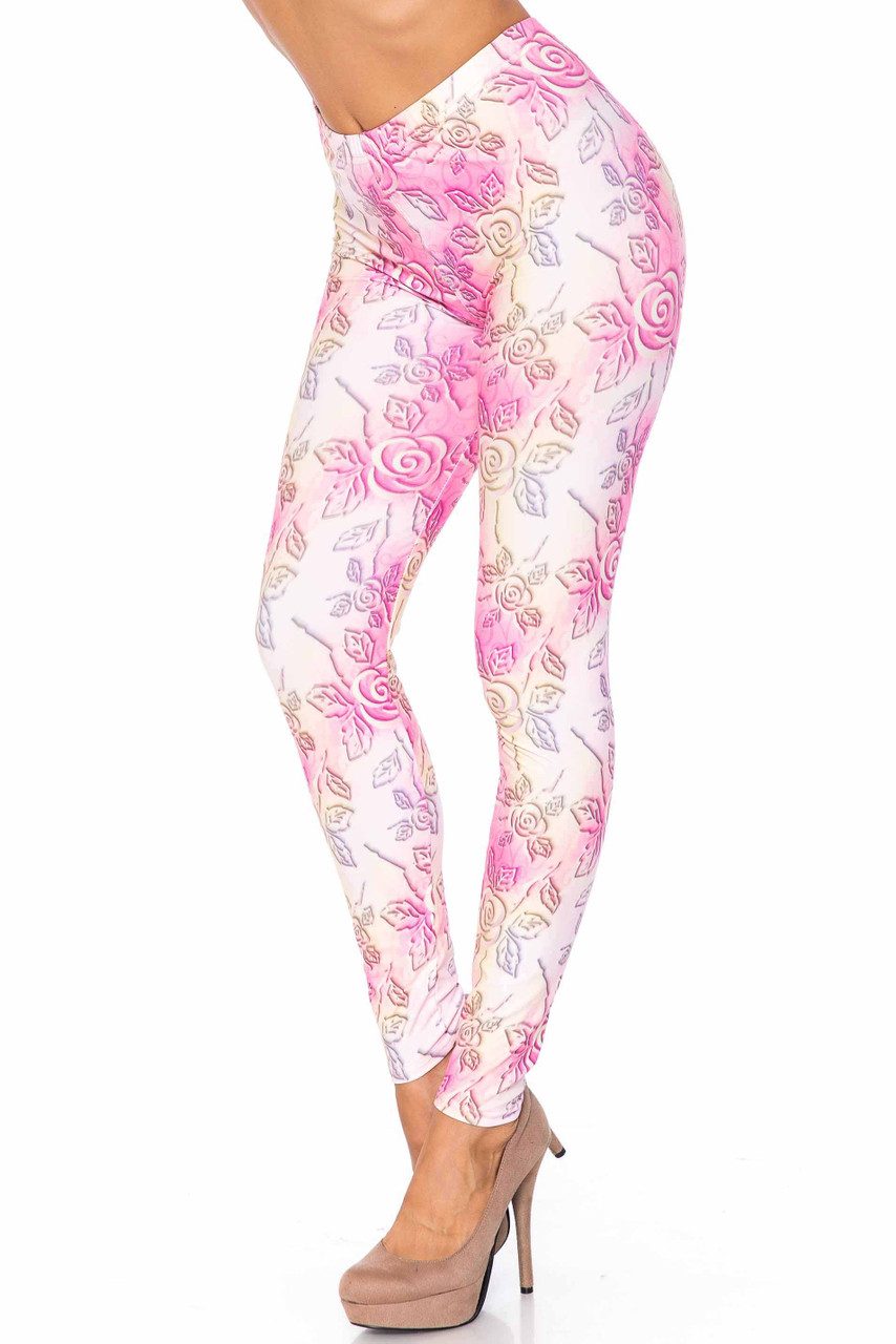 45 degree image of Creamy Soft 3D Pastel Ombre Rose Plus Size Leggings - USA Fashion™