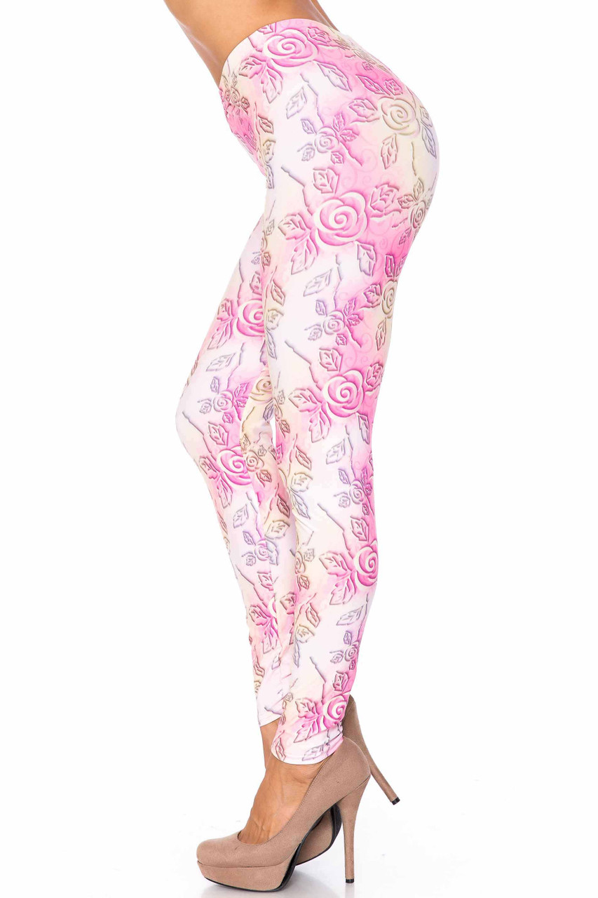 Left side image of Creamy Soft 3D Pastel Ombre Rose Plus Size Leggings - USA Fashion™