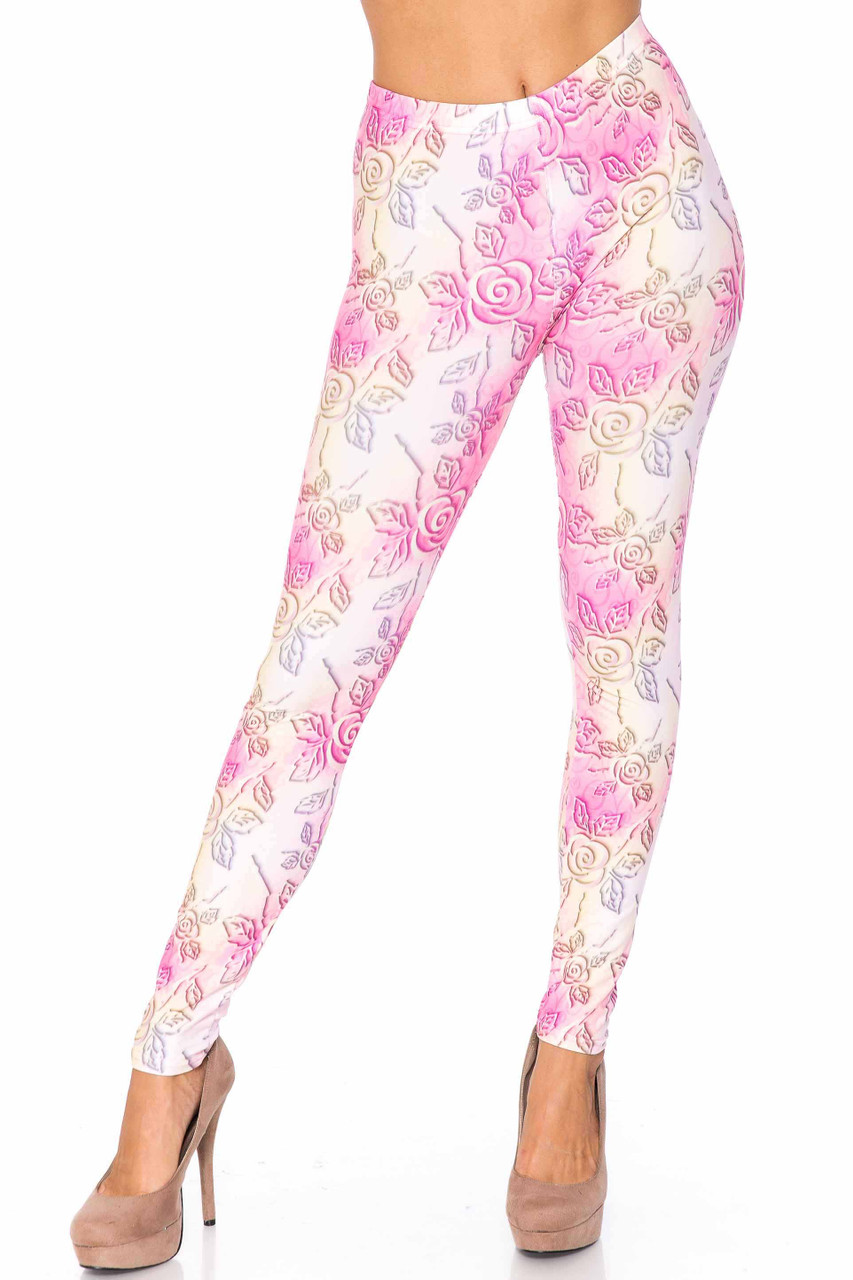 Front side image of Creamy Soft 3D Pastel Ombre Rose Plus Size Leggings - USA Fashion™