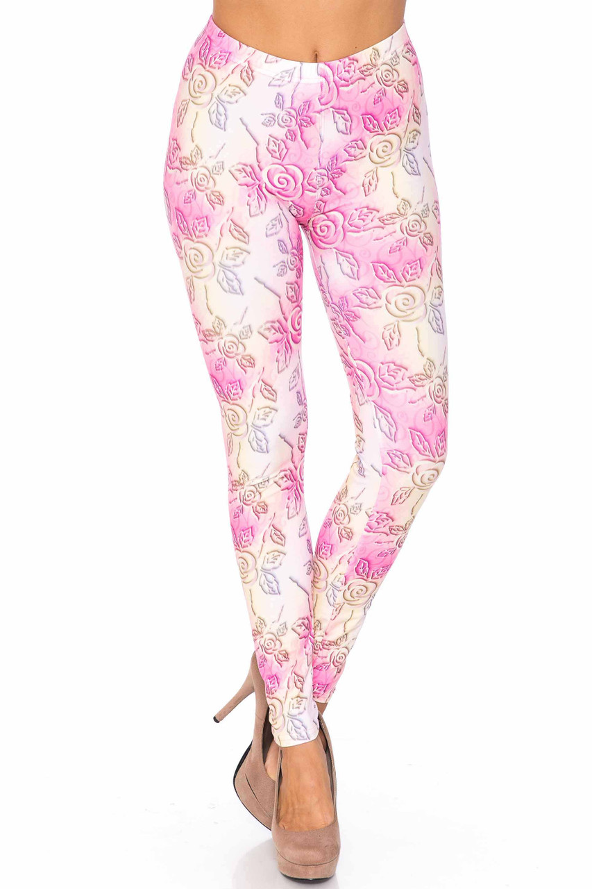 Front side image of our colorful and fabulous Creamy Soft 3D Pastel Ombre Rose Extra Plus Size Leggings - USA Fashion™ with a pink and yellow color scheme and a lovely floral design.