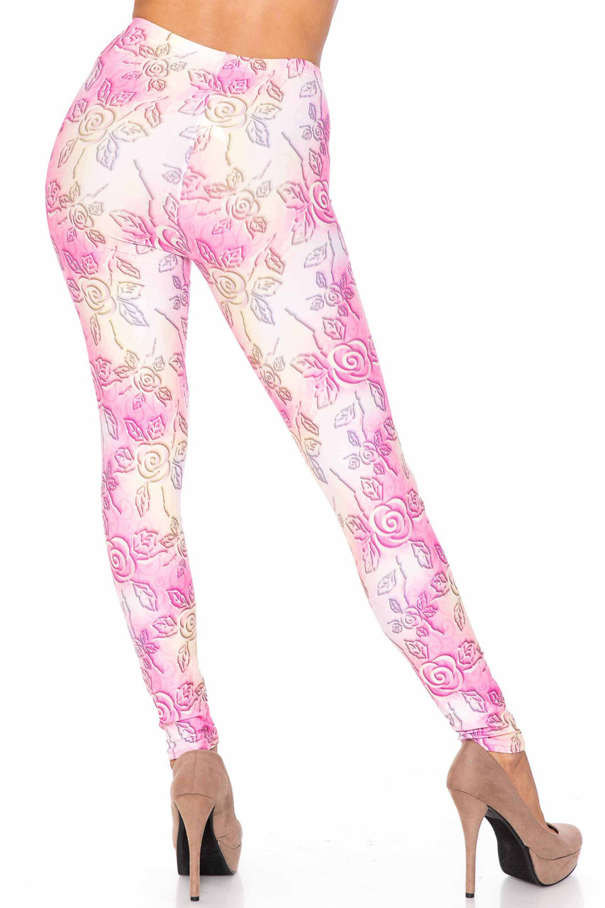 Back side image of Creamy Soft 3D Pastel Ombre Rose Extra Plus Size Leggings - USA Fashion™ showing off the gorgeous 360 degree design.