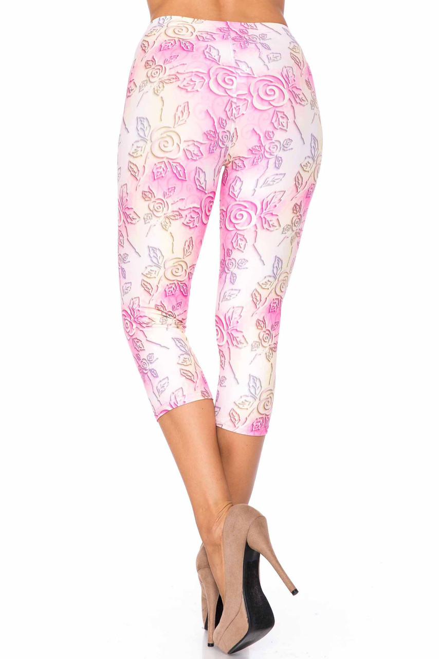 Back side image of Creamy Soft 3D Pastel Ombre Rose Capris - USA Fashion™ with a flattering figure forming fit.