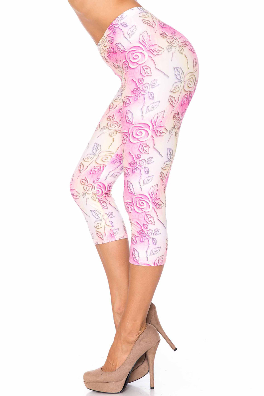 Left side image of Creamy Soft 3D Pastel Ombre Rose Capris - USA Fashion™ with a cropped mid calf length