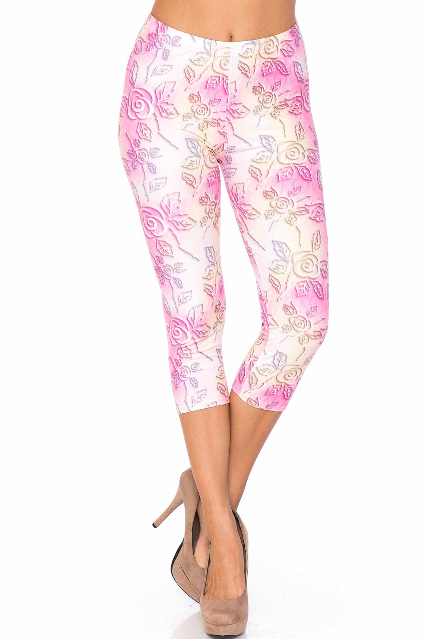 Front side image of our colorful and fabulous Creamy Soft 3D Pastel Ombre Rose Plus Size Capris - USA Fashion™ with a pink and yellow color scheme and a lovely floral design.