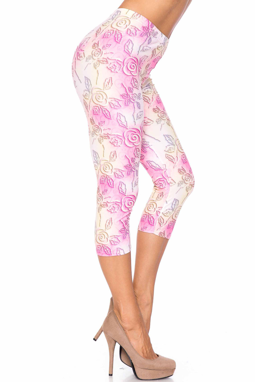 Right side image of Creamy Soft 3D Pastel Ombre Rose Plus Size Capris - USA Fashion™