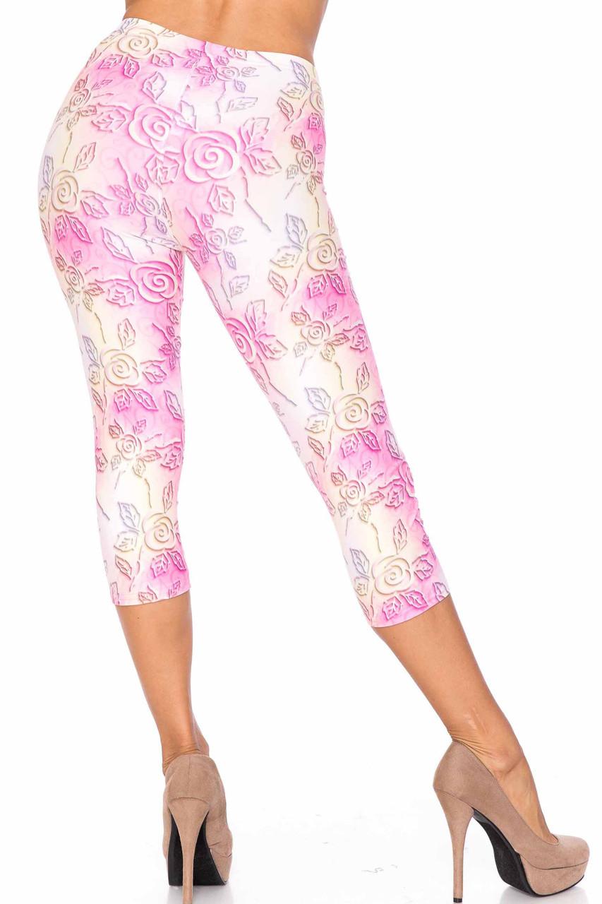 Front side image of Creamy Soft 3D Pastel Ombre Rose Plus Size Capris - USA Fashion™