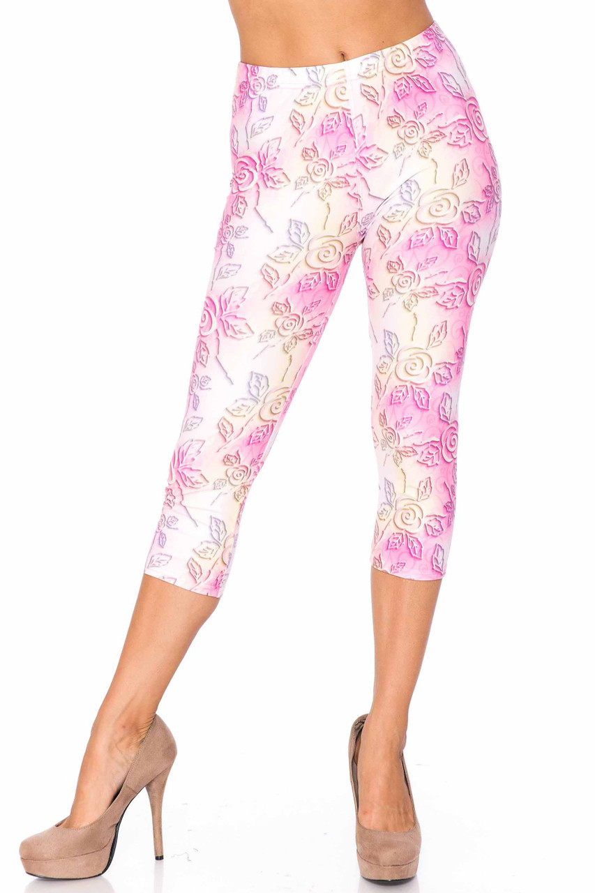 Back side image of Creamy Soft 3D Pastel Ombre Rose Plus Size Capris - USA Fashion™ showing off the gorgeous 360 degree design.