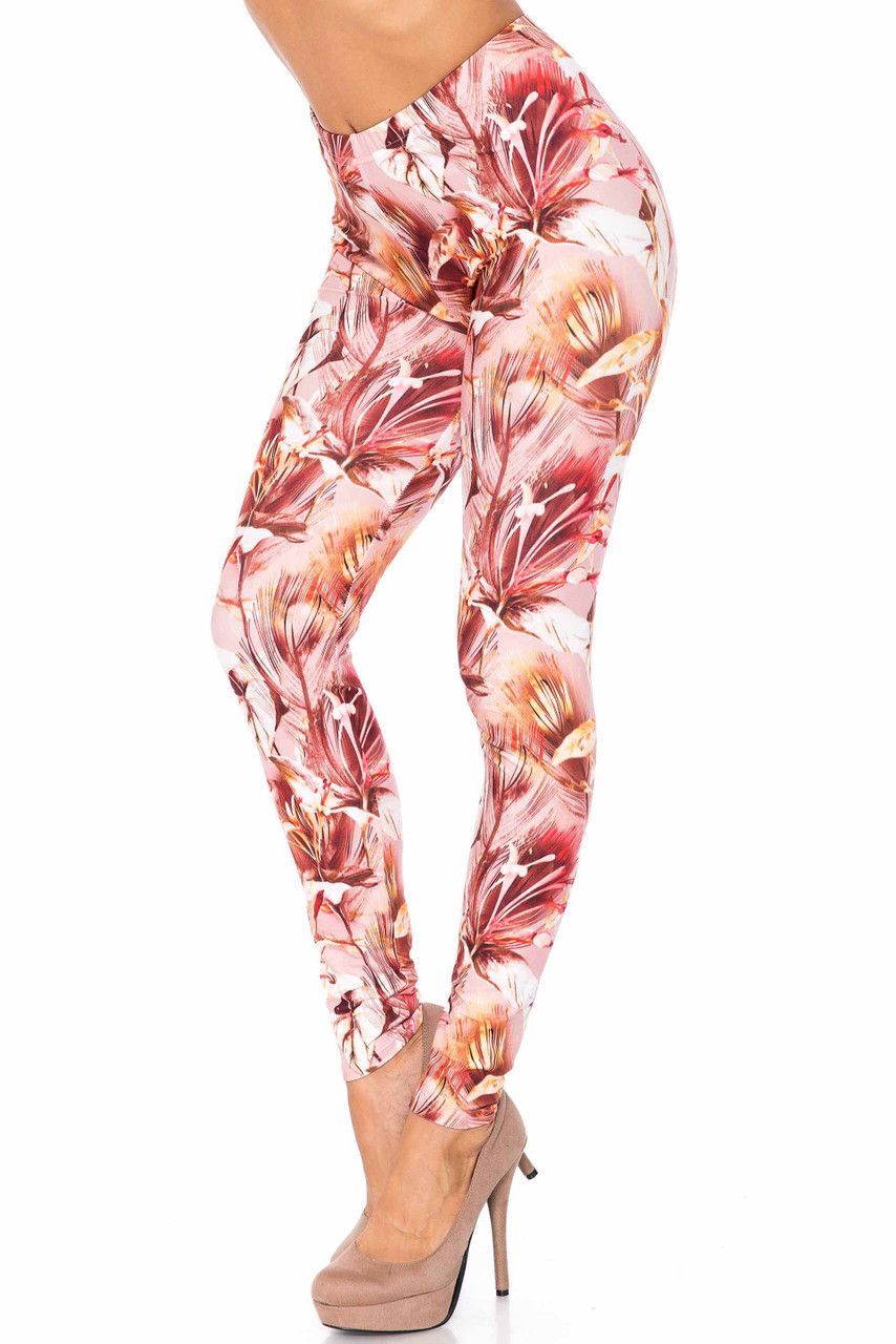 Left side image of Creamy Soft Mocha Floral Extra Plus Size Leggings - 3X-5X - USA Fashion™with a gorgeous mocha and beige flower combination design.