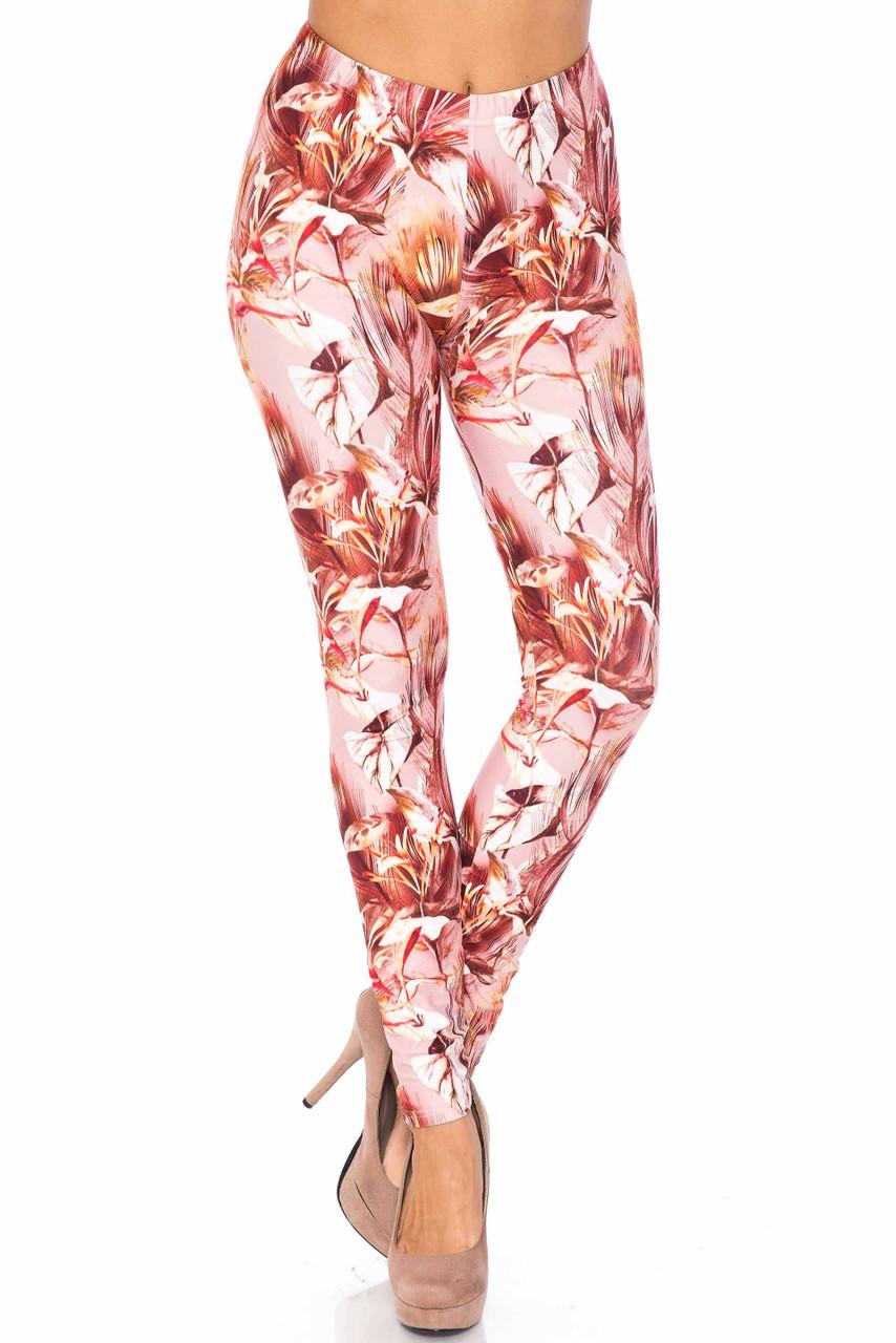Front side image of Creamy Soft Mocha Floral Extra Plus Size Leggings - 3X-5X - USA Fashion™ with a fu;l  length skinny leg cut.