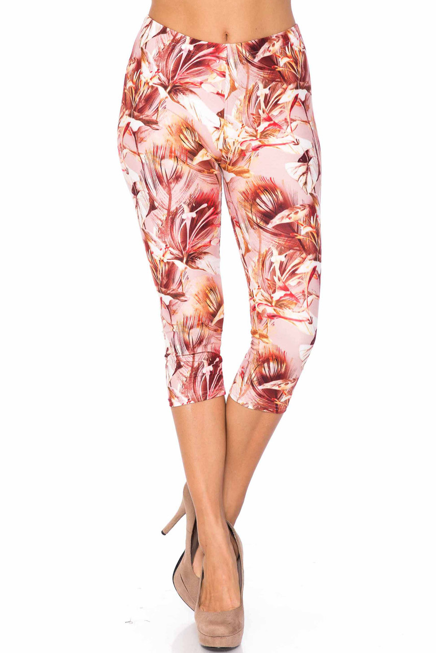 Front side image of Creamy Soft Mocha Floral Extra Plus Size Capris - 3X-5X - USA Fashion™ with a gorgeous mocha and beige flower combination design.