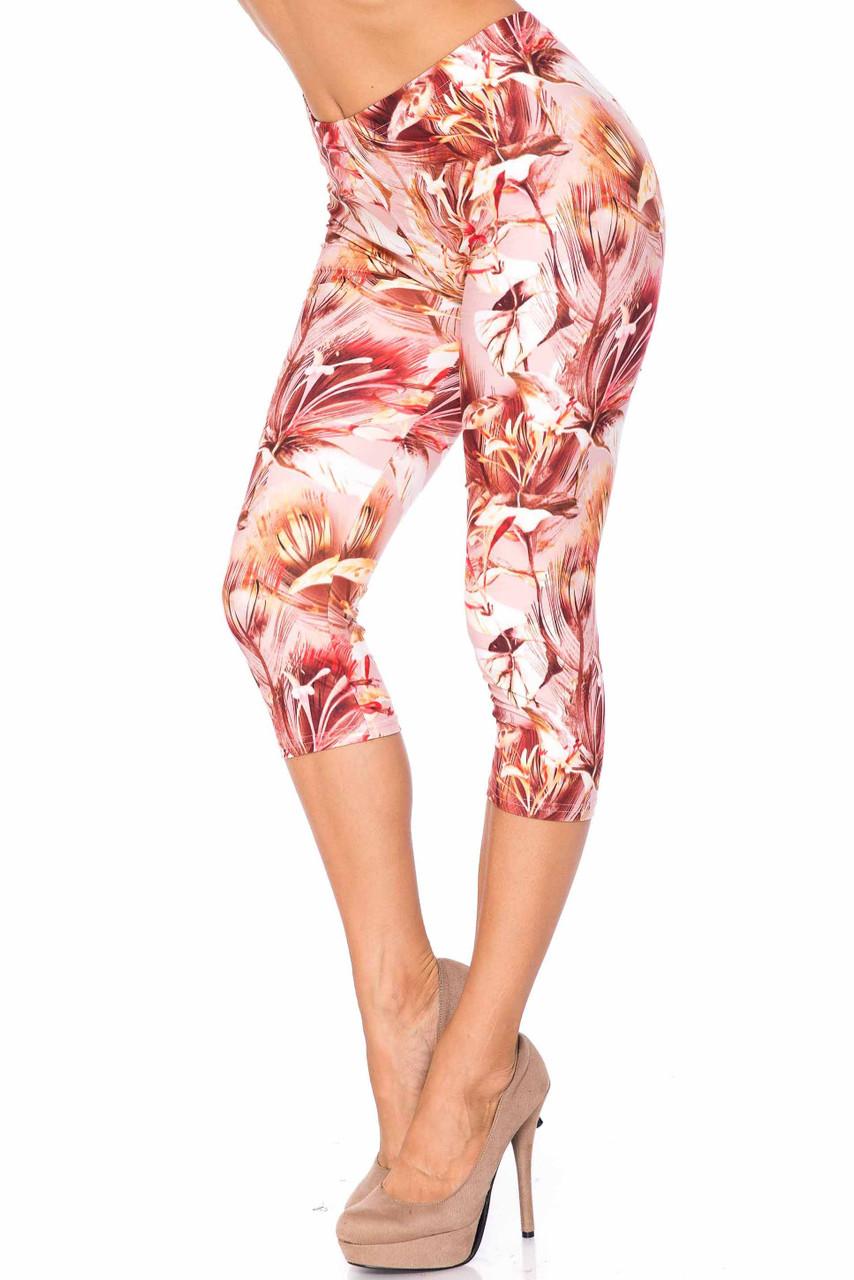 45 degree view of Creamy Soft Mocha Floral Extra Plus Size Capris - 3X-5X - USA Fashion™