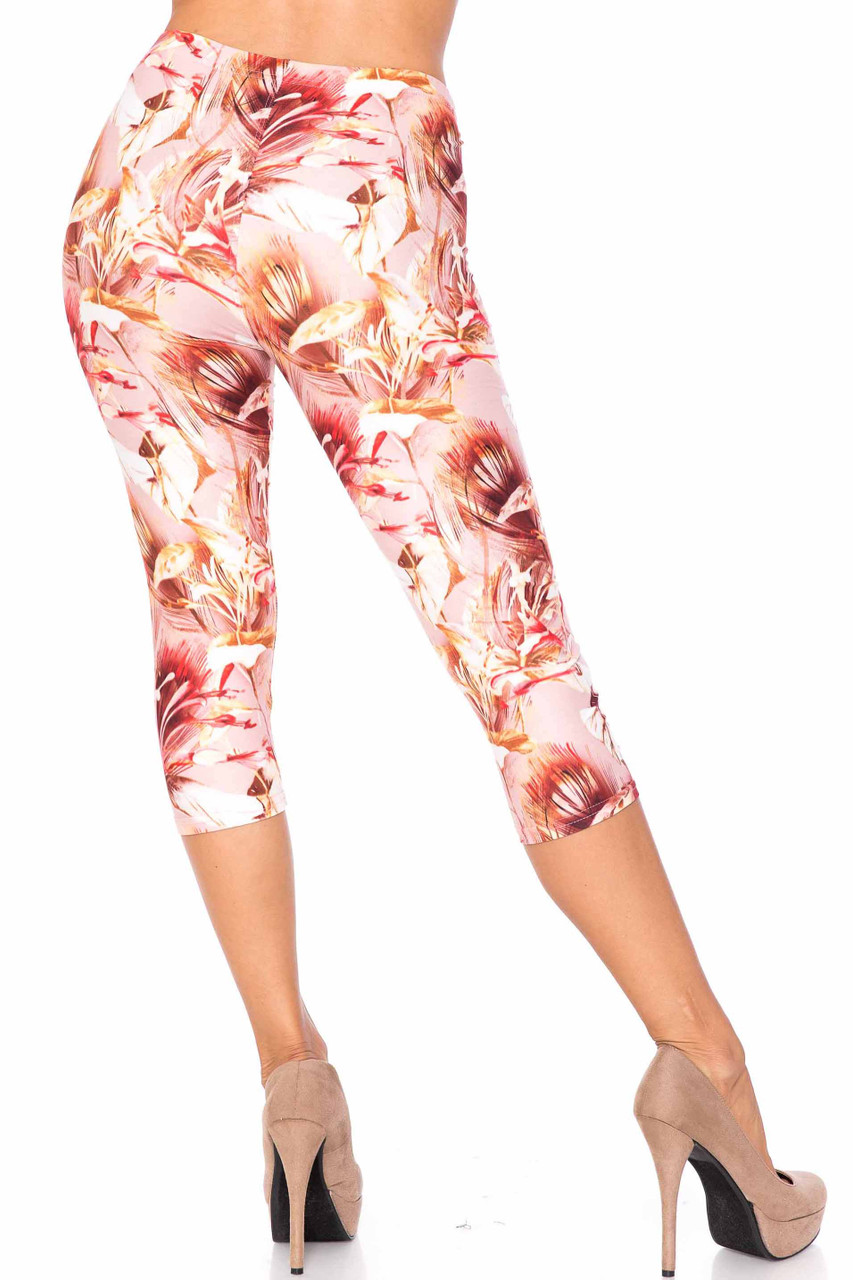 Back side image of Creamy Soft Mocha Floral Extra Plus Size Capris - 3X-5X - USA Fashion™