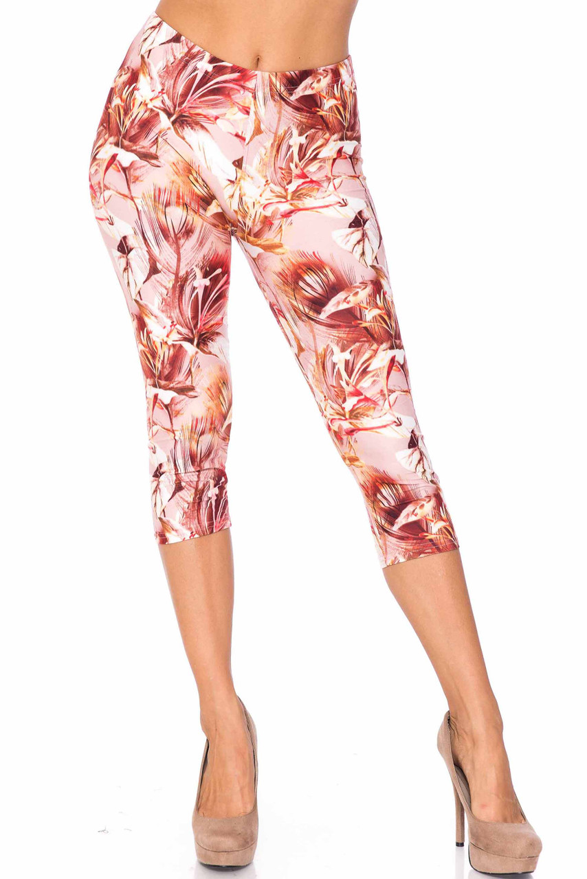 Front side image of Creamy Soft Mocha Floral Extra Plus Size Capris - 3X-5X - USA Fashion™ teamed with nude pumps.