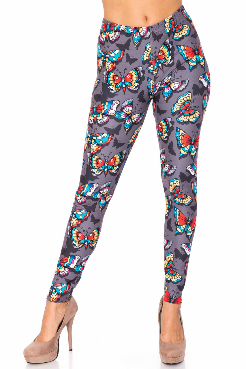 Front side image of Creamy Soft Jewel Tone Butterfly Plus Size Leggings - USA Fashion™