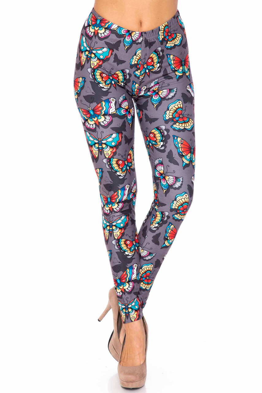 Front side image of full length Creamy Soft Jewel Tone Butterfly Extra Plus Size Leggings - 3X-5X - USA Fashion™