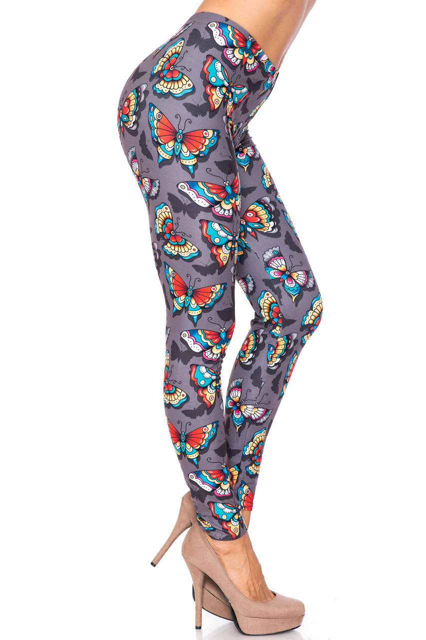 Right side image of Creamy Soft Jewel Tone Butterfly Extra Plus Size Leggings - 3X-5X - USA Fashion™