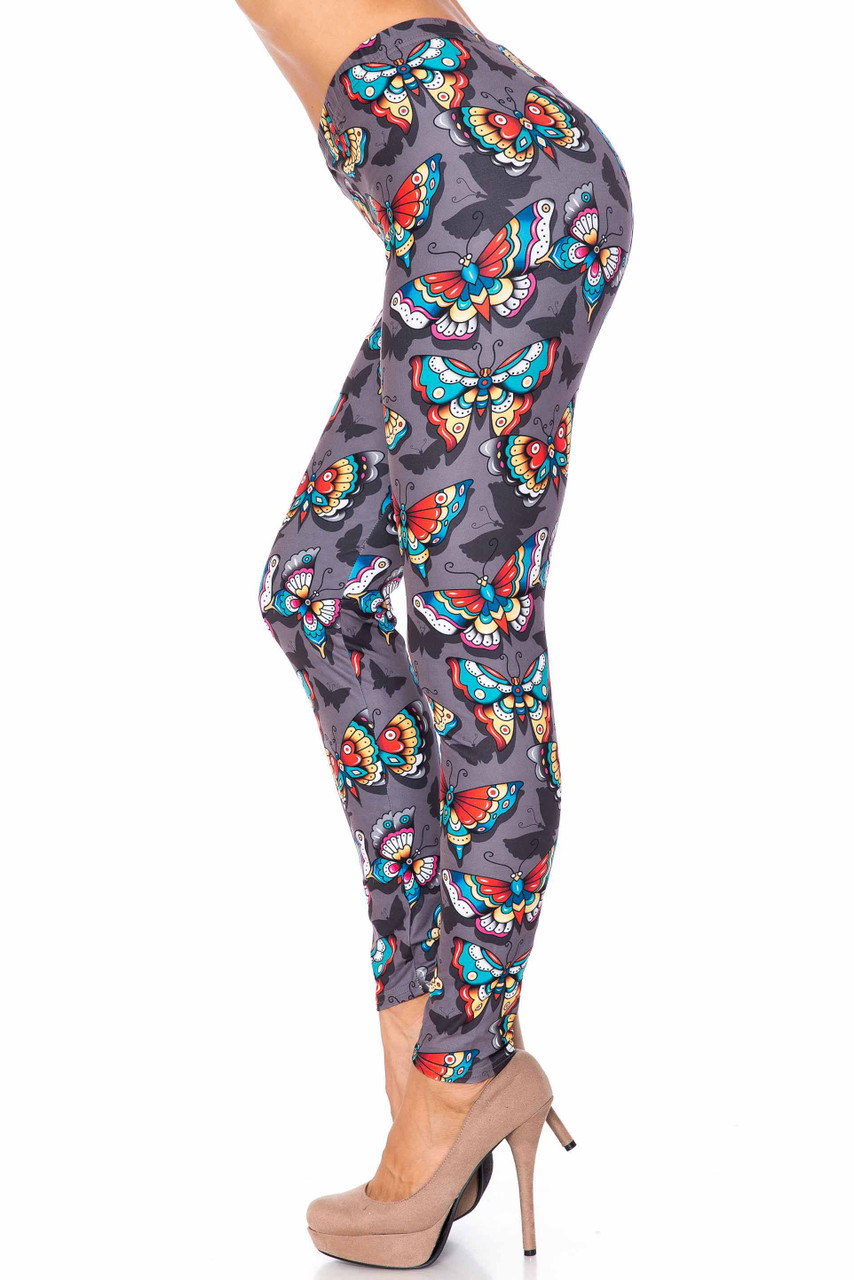 Left side image of Creamy Soft Jewel Tone Butterfly Extra Plus Size Leggings - 3X-5X - USA Fashion™