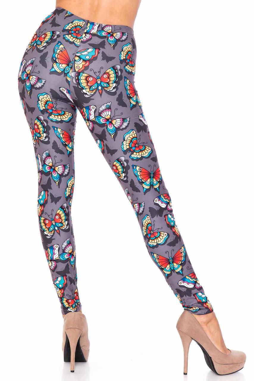 Back side image of Creamy Soft Jewel Tone Butterfly Extra Plus Size Leggings - 3X-5X - USA Fashion™