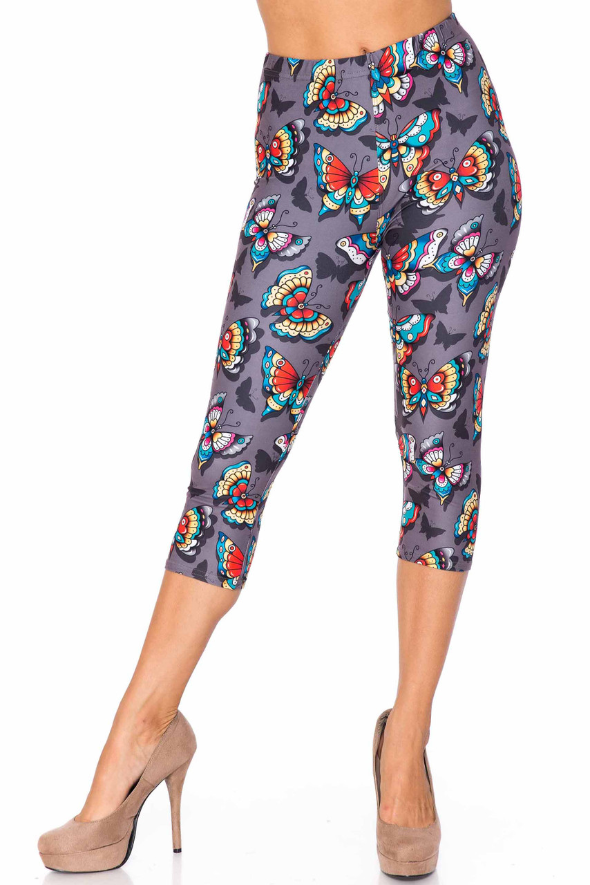 Front side image of Creamy Soft Jewel Tone Butterfly Capris - USA Fashion™