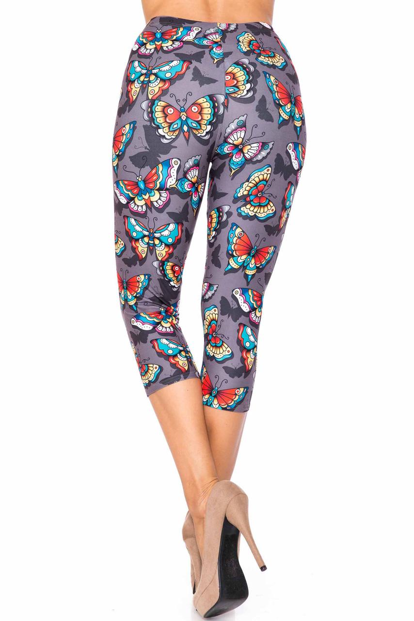 Back side image of Creamy Soft Jewel Tone Butterfly Plus Size Capris - USA Fashion™