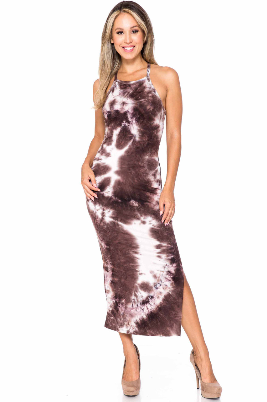 Front of Brown Buttery Soft X Back Side Slit Tie Dye Summer Dress