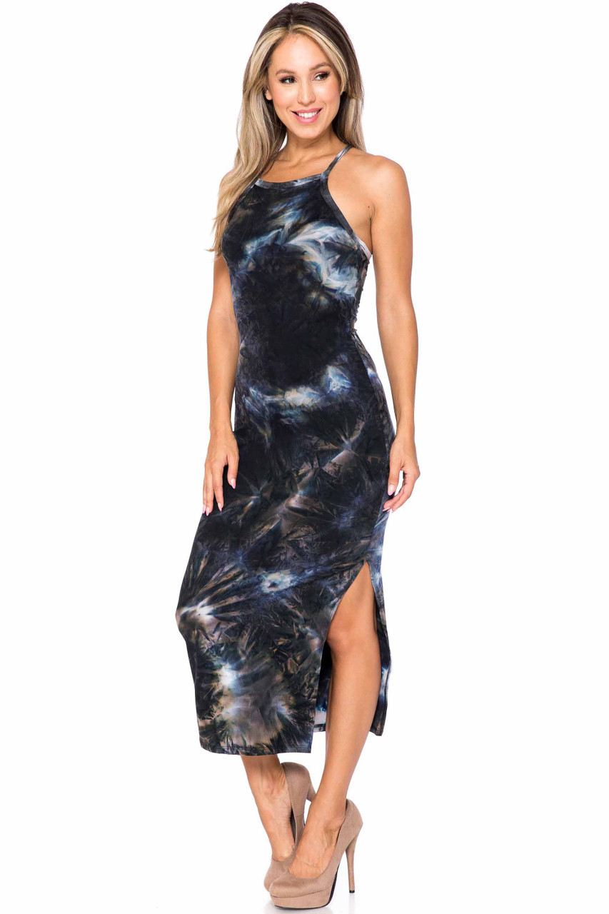 Front of Charcoal Buttery Soft X Back Side Slit Tie Dye Summer Dress